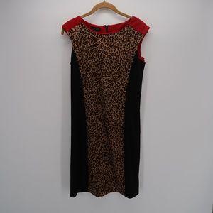 Spense Leopard Print Bodycon Sheath Dress Size 6